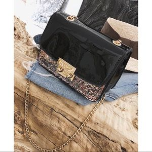Handbags - Pu patent leather glitter detail crossbody bag